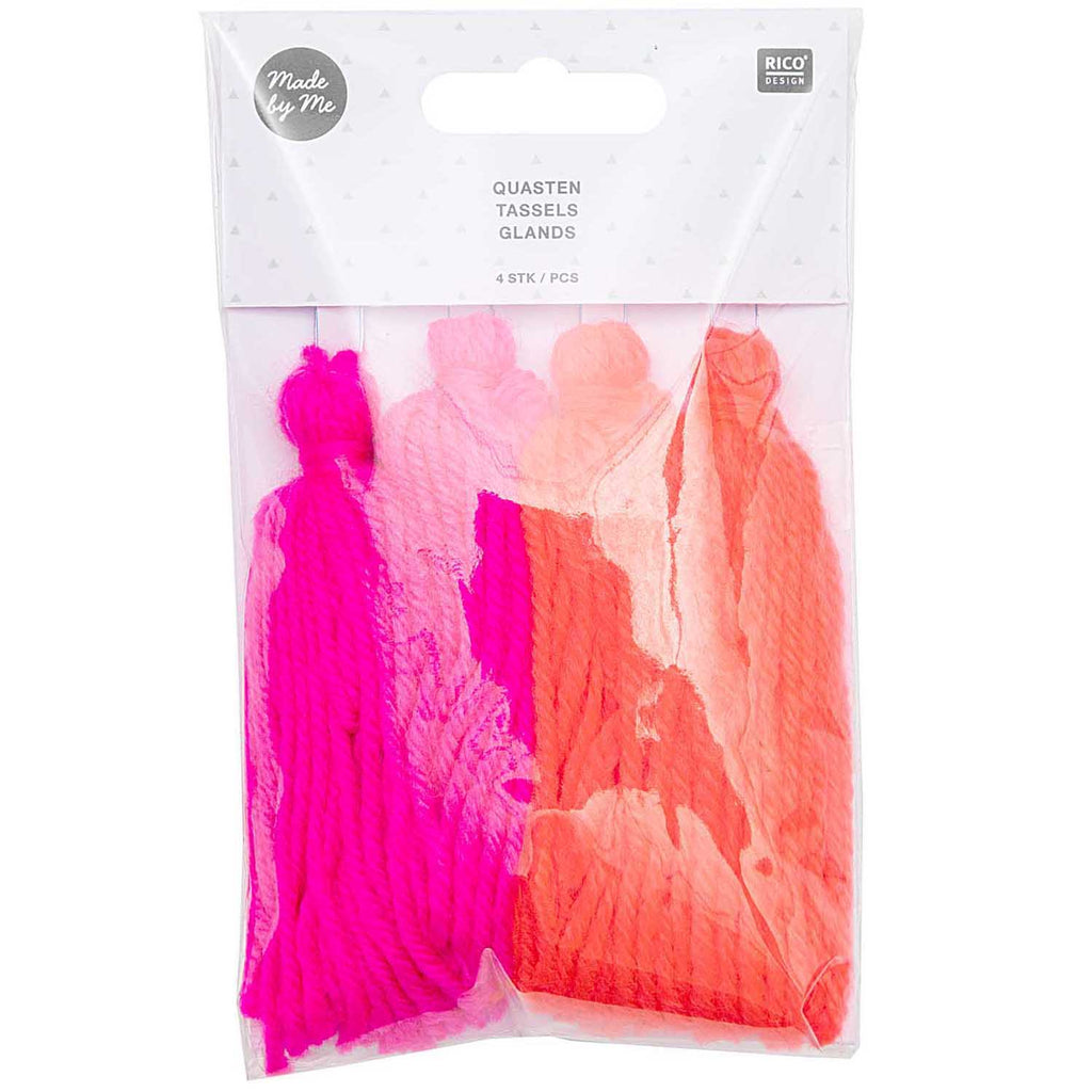 Tassels 4 pack Neon Colours 9cm long