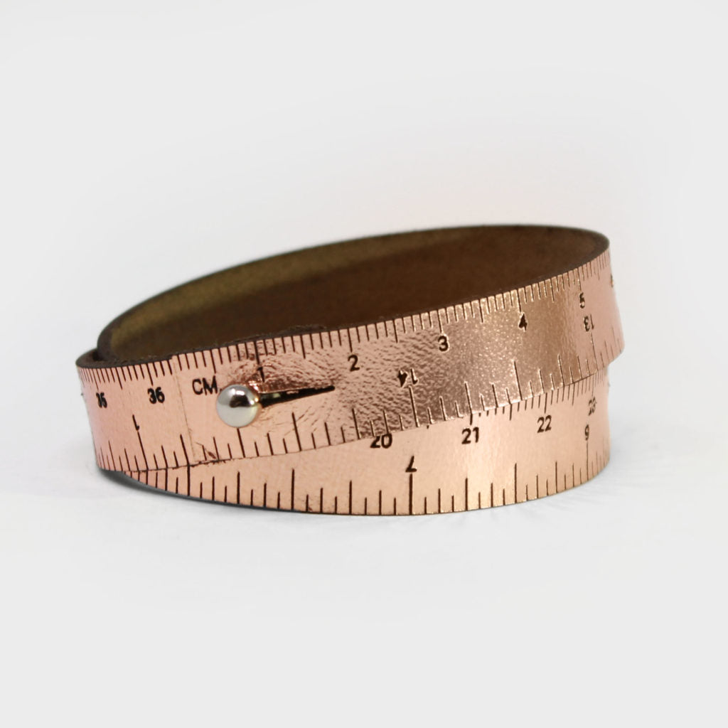 Leather Wrist Ruler Bracelet Metallic Rose Gold 16""