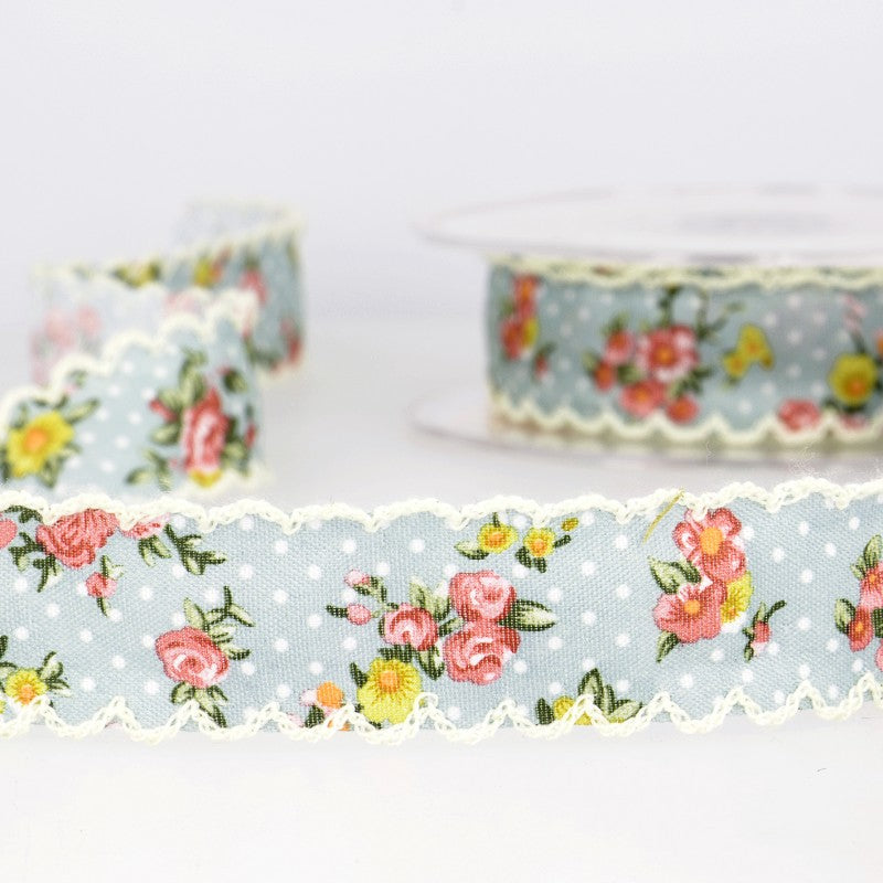Vintage floral ribbon with spots 002 blue