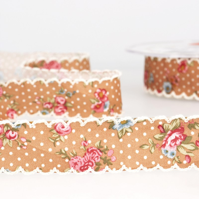 Vintage floral ribbon with spots 51 brown