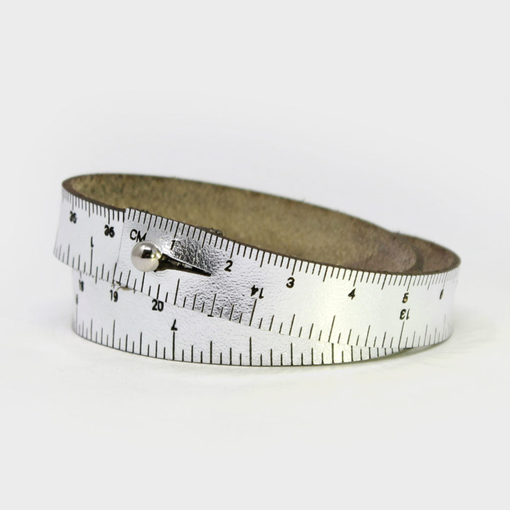 Leather Wrist Ruler Bracelet Silver 16""