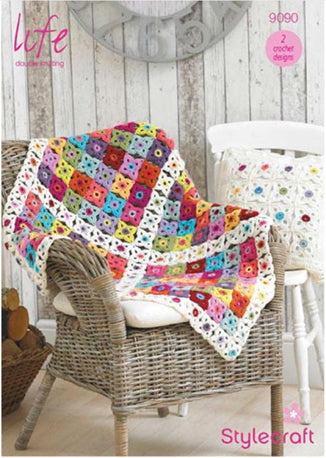 Crochet Flower Blanket & Cushion Cover Pattern - 9090