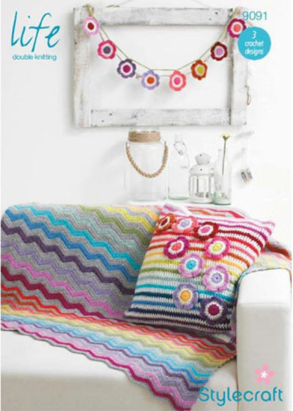 Stylecraft Crochet Blanket Cushion Cover & Garland Pattern -9091