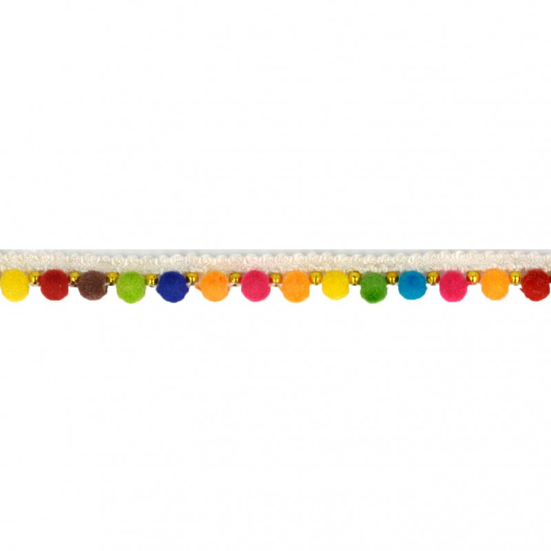 Beaded Multicolour Pompom Trim per metre