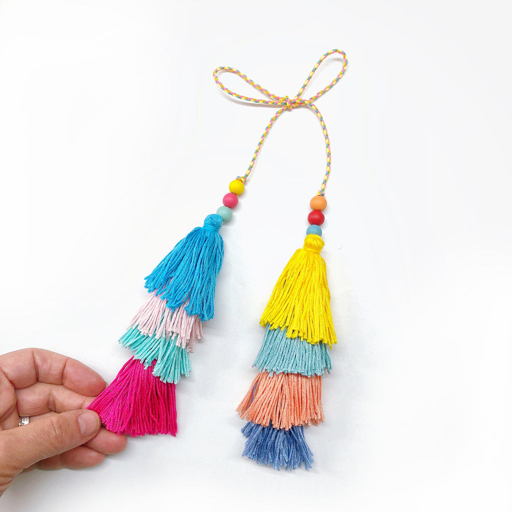 4 Tassels Double ended Tie on Beaded Decoration