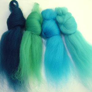 Tropical Waters merino wool tops inspiration pack for felting