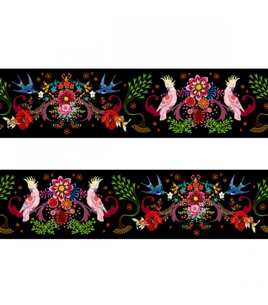Velvet Border : Aviary Black x 1m