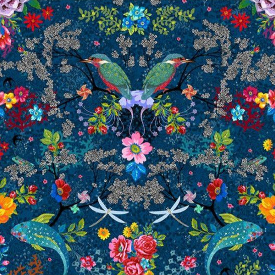 Half Metre : Odile Bailloeul VELVET Enchanted Pond Dark Blue