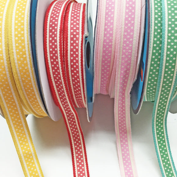 Retro polka dot ribbon 74 pink 13mm