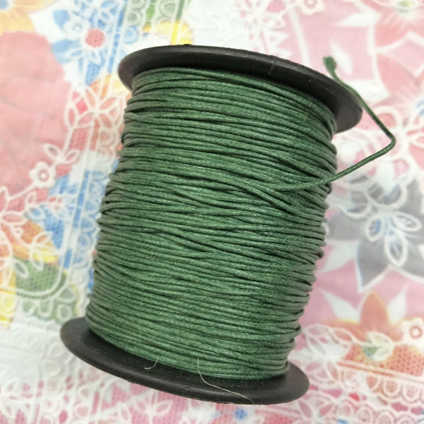 Waxed Cotton 1mm 053 Dk Green  per metre