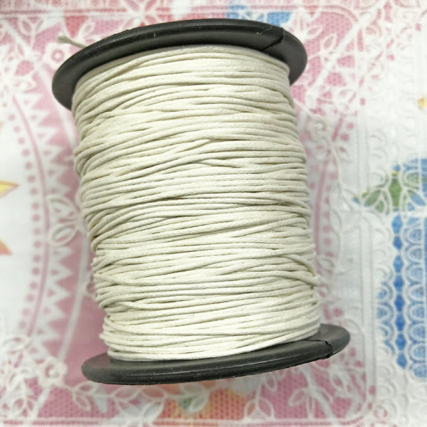 Waxed Cotton 1mm 001 White per metre