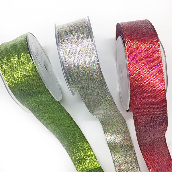 38mm Sparkly Wire Edged Ribbon Red 78 per metre