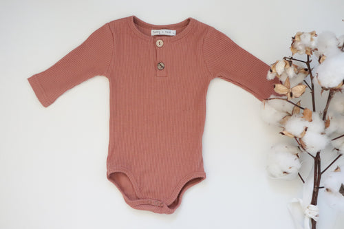 'Reggie' Ribbed Romper - Ginger