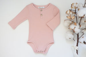 'Reggie' Ribbed Romper - Dusty Rose