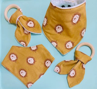 Lion Bandana Bib & Teething Ring Set