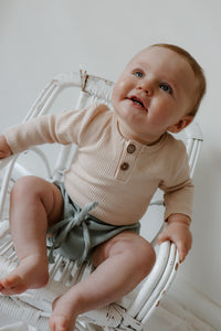 'Reggie' Ribbed Romper - Wheat
