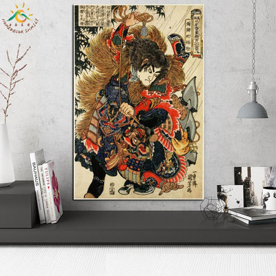 JS-16 Japan Samurai Modern Wall Art Posters Scroll Canvas for Living Room