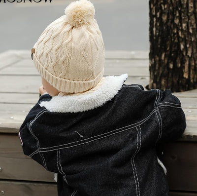 Boy Hat And Scarf Set Curl Cotton Knitted Winter Fur Pompom Ears