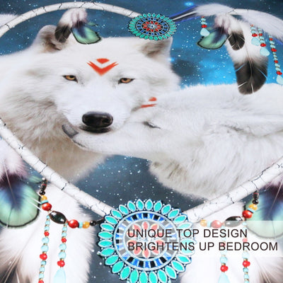 Wolves Couple Bedding Set 3D Print White Wolf Duvet Cover Tribal Animal Galaxy Bed Set