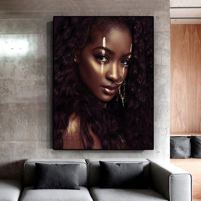 AF-10 Beautiful African Woman Canvas Painting Nordic Wall Art Picture for Living Room