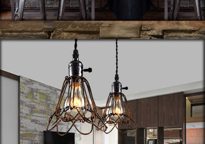 pendant lamp loft lights  Retro chandelier iron cage