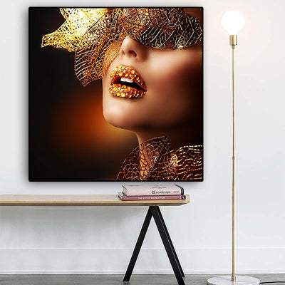 Modern Gold Lips Sexy Women Art Wall Picture
