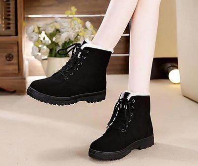 Snow boots  lace-up winter shoes woman