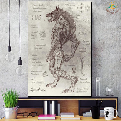 Wall Art Print Horrible Werewolf Modern Canvas Painting Black and White