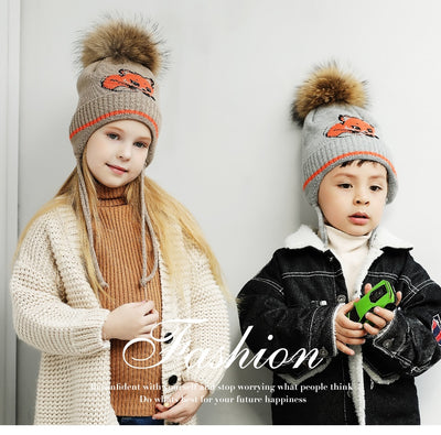 Caps Children Boy Girl Fur Pompom Knitted Winter Brand New High Quality
