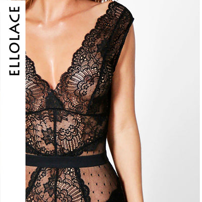 Lace Bodysuit Floral Embroidery Deep V Neck