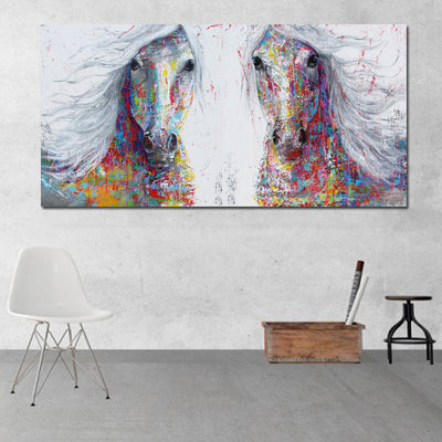 CH-07 Abstract Horse Painting Pop Art Canvas Print Wall Pictures