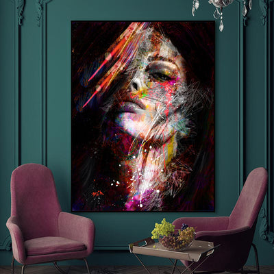 Abstract Graffiti Colorful showy Women Wall Art Print On Canvas For Wall Decor