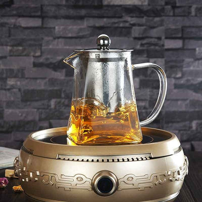 Teapot High Temperature 350ml 550ml 750ml Glass Square Pot Stainless Steel