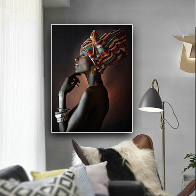 AF-05 Wall Art Picture African Woman Headband Portrait Canvas Painting