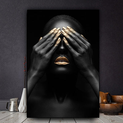BW-07 Black Hand and Gold Lip Woman Oil Painting on Canvas Black Woman Model No Frame
