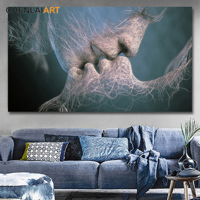 3Colors Abstract Love Kiss Canvas Painting Pictures Wall Art Canvas No Frame