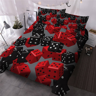 Red Black Dice Duvet Cover Set 3D Game Modern Bedding Set Gray Duvet Cover with Pillowcases 3 Pieces