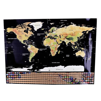 Sw-02 Wall Stickers World Travel Map Erase Off World Map Travel Scratch For Map 82.5x59.4cm Home Office Decoration