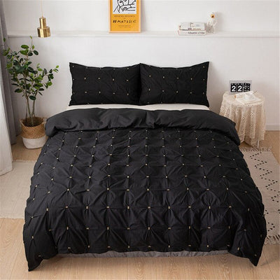 Twin Size Bedding Bed Linen Euro Set Plain Color Square Duvet Cover Set Queen Size Royal Palace Bed Covers luxury Black 5 Color