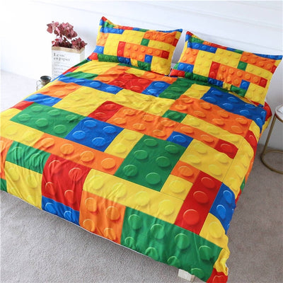 Colorful Bricks Game Bed Cove Bedding Set