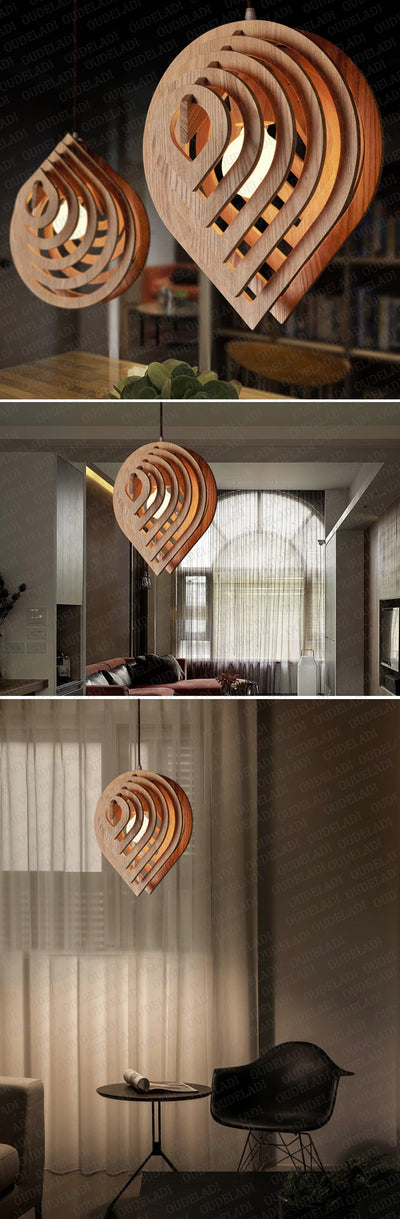 Modern Wooden Pendant Light E27 Nordic  Water Drop Pendant Lamp Loft
