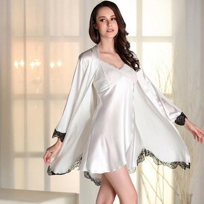 Sexy  Robe Sets Embroidered Lace Faux Silk Satin 2 Pcs  Bathrobe+Sleepwear