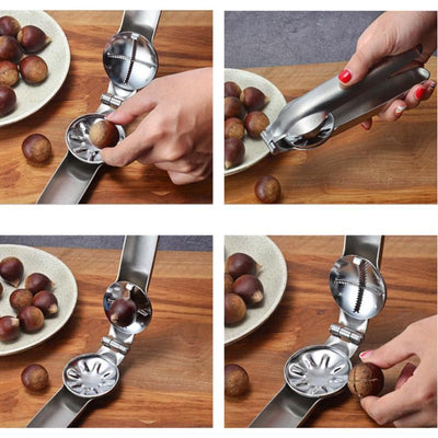 Pliers cut Walnut & Chestnut  Stainless Steel 2 in 1 Quick Tools Cutter Gadgets