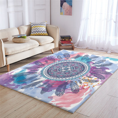 Mandala Feather Carpets Hippie Circle Floor Rug
