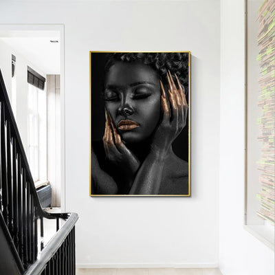 BW-03 Wall Art Canvas Black Girl Golden Nails Modern Canvas Paintings