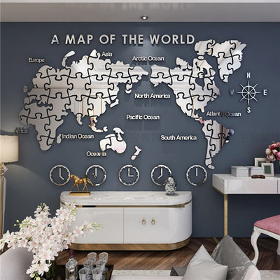 World Map Wall Painting Self-adhesive Wall Decoration 3D Stereo Creation
