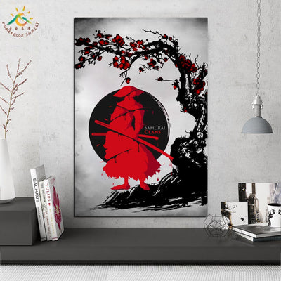 JS-09 Japanese Red Samurai Abstract Art Wall Poster Painting Vintage for Living Room