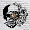 Skull With Rose Vinyl Record Wall Clock Handmade Wall Art Decor