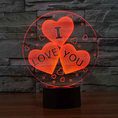 I LOVE YOU 7Color Change 3D Hologram Love Heart balloon Lamp USB Acrylic Lights