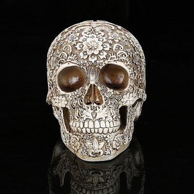 Resin Skull  Carving Statue Art